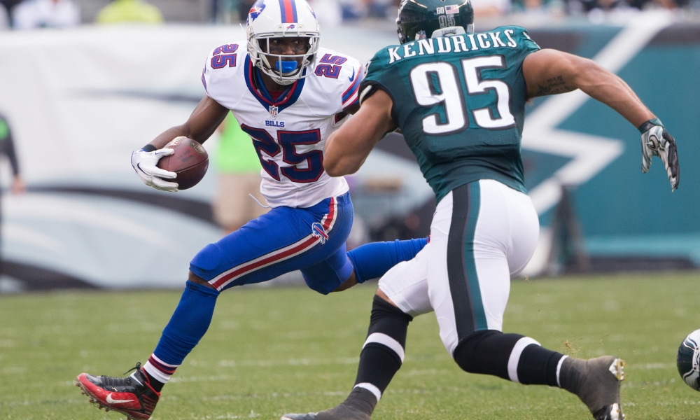 LeSean McCoy of the Buffalo Bills makes his move around an Eagles defender