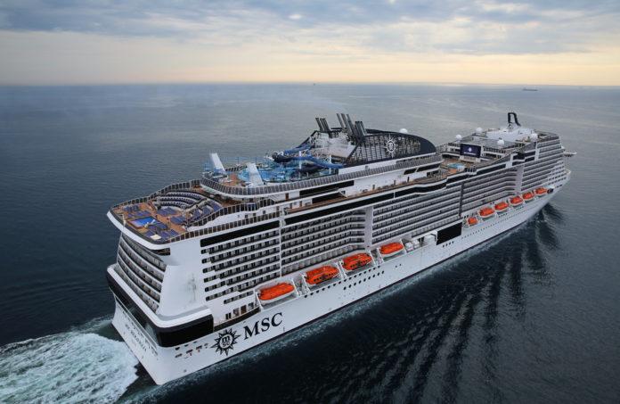a cruise ship in the ocean