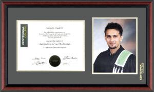 A diploma frame